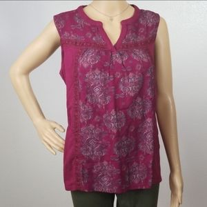 St Johns Bay Wine Red Embroidered Lace Boho Top K5